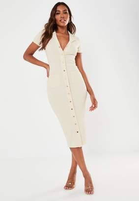 Missguided Cream Rib Short Sleeve Popper Midi Dress