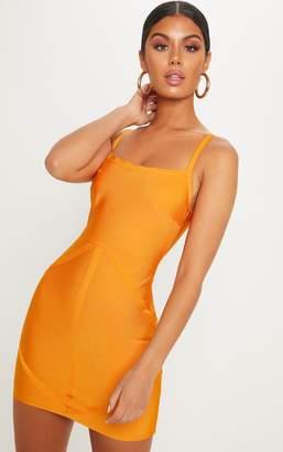 PrettyLittleThing Bright Orange Strappy Square Neck Bodycon Dress