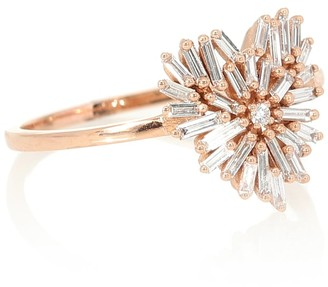 Suzanne Kalan Small Heart 18kt rose gold ring with diamonds