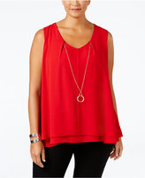NY Collection Plus Size Printed Necklace Top