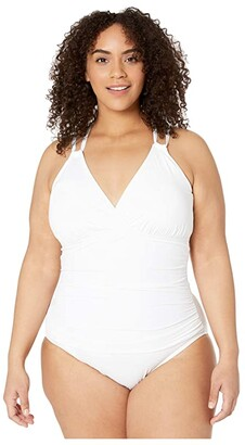La Blanca Plus Size Island Goddess Surplice Mio One-Piece (White) Women's Swimsuits One Piece