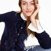 J.Crew Crewneck cardigan sweater with feather trim