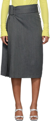 Rokh Grey Wool Herringbone Skirt