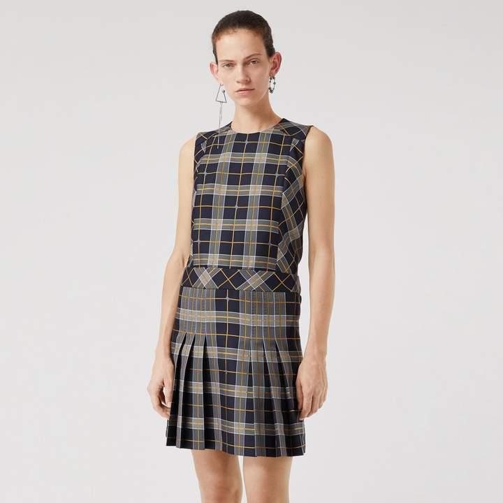 Burberry Sleeveless Pleat Detail Check Dress , Size: 06, Navy
