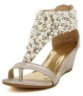 Angelliu Women's Fancy Bohemian Rhinestone Pearl Wedges Sandals T-Strap Shoes