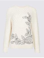 Per Una Embroidered Cable Knit Round Neck Jumper