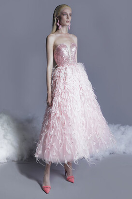 GEORGES HOBEIKA Beaded Feathered Tulle Dress