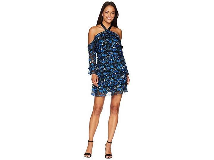 Alexia Admor Embroidered Halter Ruffle Dress Women's Dress