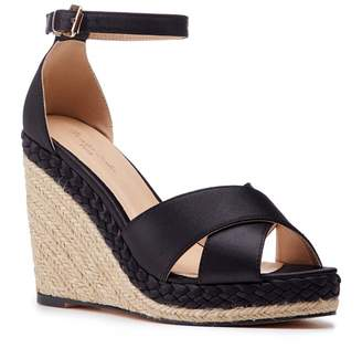 Paradox London Yolanda Black High Heel Ankle Strap Crossover Espadrilles