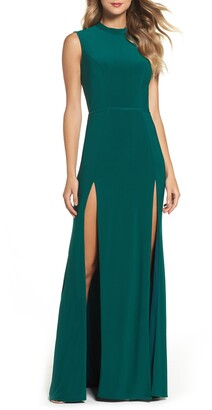 Mac Duggal Mock Neck Double Slit Gown