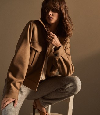 Reiss Baxter - Wool Blend Utility Jacket in Camel