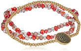 "Kenneth Cole New York Delicates"" Pave Disc Ruby Faceted Bead Stretch Bracelet"