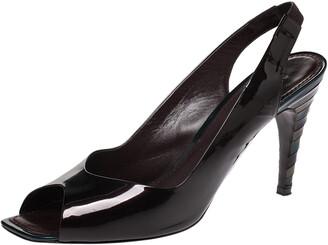 Louis Vuitton Dark Brown Patent Leather Peep Toe Slingback Sandals Size 38.5
