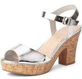 Dorothy Perkins Womens Silver 'Romana' Platform Wedge Sandals- Silver