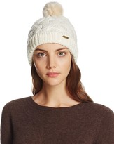 Barbour Cable Beanie with Faux Fur Pompom