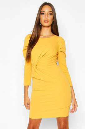 boohoo Crew Neck Knot Front Puff Sleeve Shift Dress