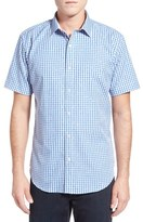 Bugatchi Shaped Fit Short Sleeve Jacquard Check Sport Shirt