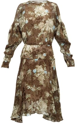 Preen by Thornton Bregazzi Jemima Floral-printed Satin-devore Dress - Womens - Brown Multi