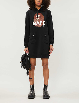 Bape Quilted logo-printed jersey hoody dress