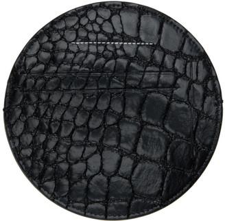 MM6 MAISON MARGIELA Black Faux Croc Round Card Holder