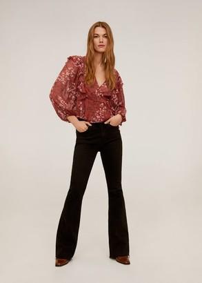 MANGO Ruffled cross blouse