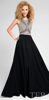 Terani Couture Fully Embellished Criss Cross Tie Back Prom Dress