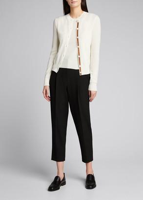 Ralph Lauren Collection Cashmere Leather-Trim Cardigan
