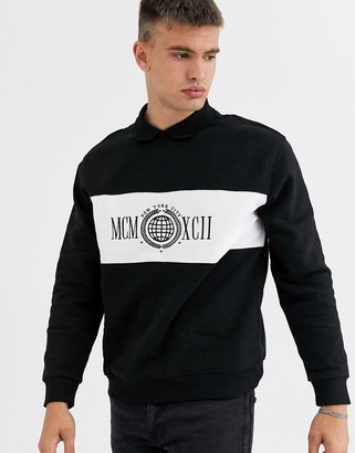 New Look collared MCM sweat in black