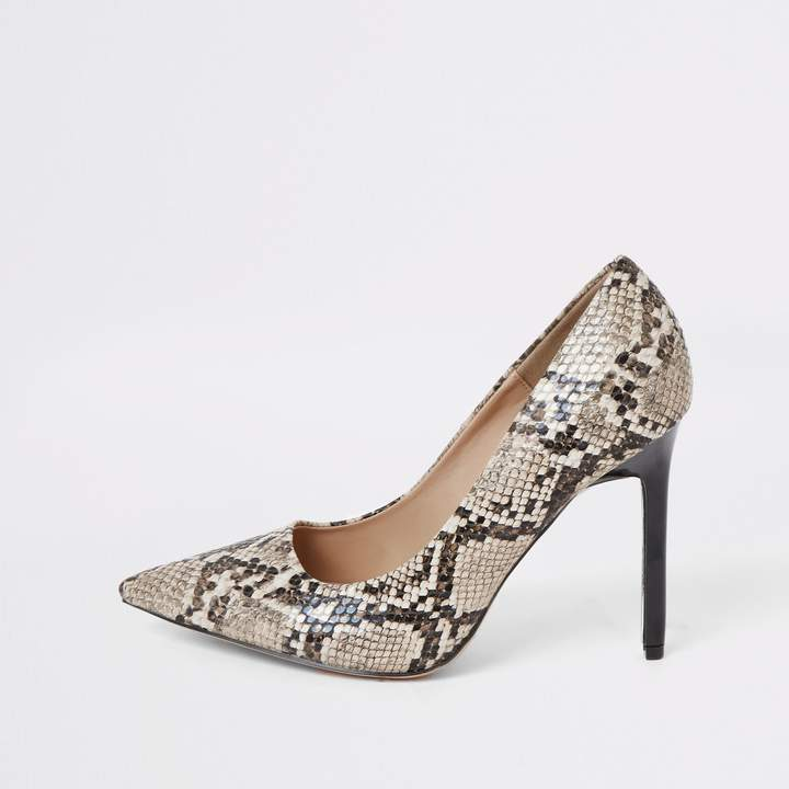 bb5e2b37c79 Womens Brown wide fit snake print court shoes