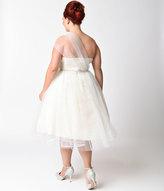 Unique Vintage Preorder Plus Size Ivory Shimmer Mesh One Shoulder Charisse Dress