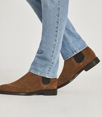 Reiss Tenor - Suede Leather Chelsea Boot in Toffee