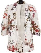 River Island Womens White floral print lace ruched sleeve blazer