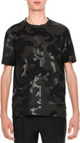 Valentino Camu Rockstud Short-Sleeve T-Shirt, Black Tone-on-Tone