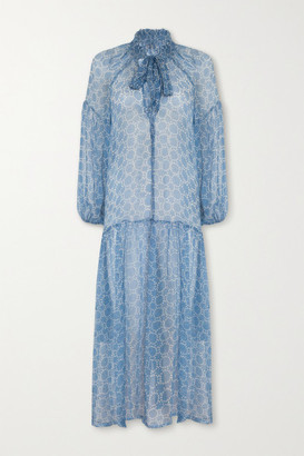 CLOE CASSANDRO + Net Sustain Donna Printed Silk-crepon Dress - Blue