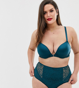 City Chic Erin crochet lace push-up front fastening bra in green