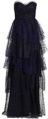 Marchesa Notte Flocked Glitter Tulle Strapless Gown