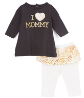Bon Bebe Black Leopard 'I Love Mommy' Tee & Skirted Leggings