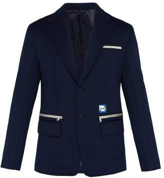 Prada Logo Single Breasted Blazer - Mens - Navy