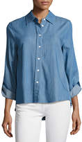 Generation Love Kris Denim Accordion-Pleated Shirt, Blue