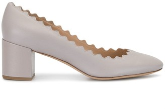 Chloé Scallop-Trim Low-Heel Pumps