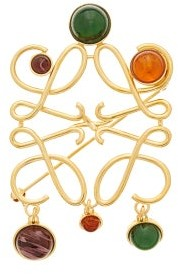 Loewe Anagram Small Stone-embellished Brooch - Gold