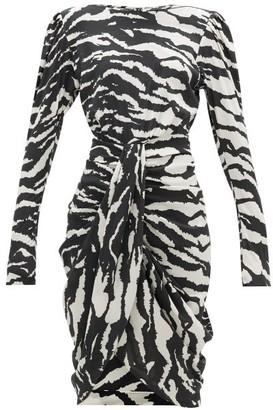 Isabel Marant Frea Draped Tiger-print Silk-blend Dress - Black White