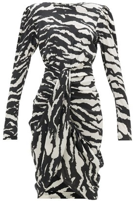 Isabel Marant Frea Draped Tiger-print Silk-blend Dress - Womens - Black White