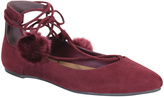 Bamboo Burgundy Lace-Up Pom-Pom Sequel Ballet Flat