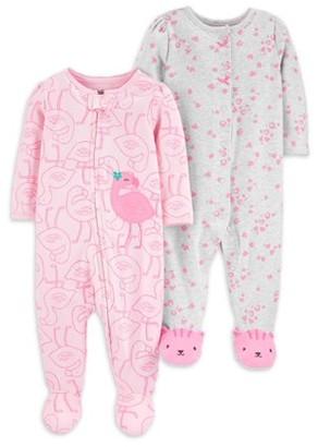 Child of Mine by Carter's Newborn Baby Girl Interlock Cotton Sleep 'N Play Footed Pajamas, 2-Pack (Preemie-9M)