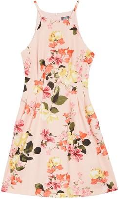 Vince Camuto Printed Floral Print Scuba Halter Dress