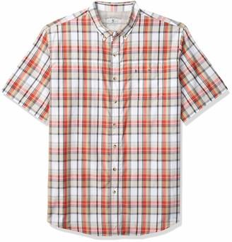 G.H. Bass & Co. Men's Big & Tall Big and Tall Explorer Short Sleeve Fishing Shirt Plaid Button Pocket Red 2X-Large