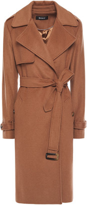 DKNY Belted Wool-blend Felt Coat