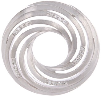 Breuning Sterling Silver Circular Swirl Diamond Pendant Necklace