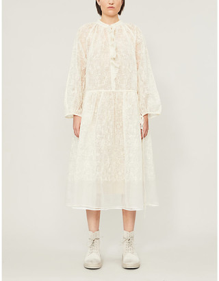 Renli Su Frilled lace-trim silk-blend midi dress